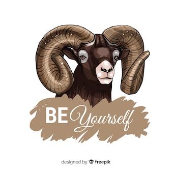 Vintage chèvre avec fond de slogan