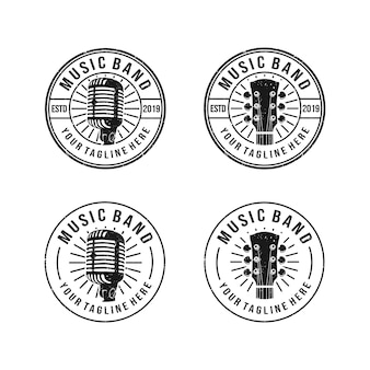 Vintage, classique, logo grunge pour groupe de musique avec microphone et objet guitare