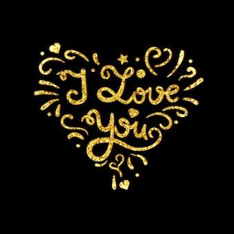 Vintage coeur avec lettrage d'or d'étincelles