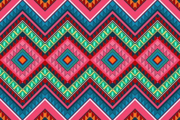 Vintage coloré motif traditionnel oriental sans couture ethnique géométrique aztèque. conception pour l'arrière-plan, tapis, toile de fond de papier peint, vêtements, emballage, batik, tissu. style de broderie. vecteur.
