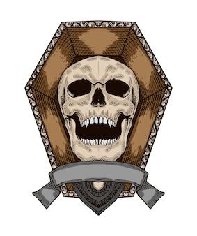 Vintage crâne dessiné à la main