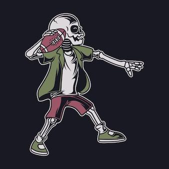 Vintage le crâne est prêt à lancer le ballon de football
