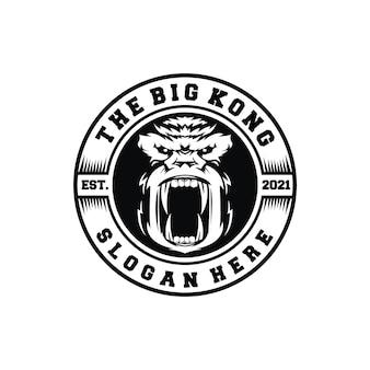 Vintage emblème logo singes insigne étiquette kong rugissement timbre en colère