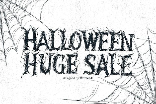 Vintage énorme vente d'halloween avec toile d'araignée