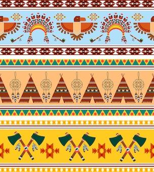 Vintage ethnique tribal sans soudure de vecteur