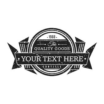 Vintage étiquette monochrome noir décoration texture minable rubans rétro bannière sur fond blanc
