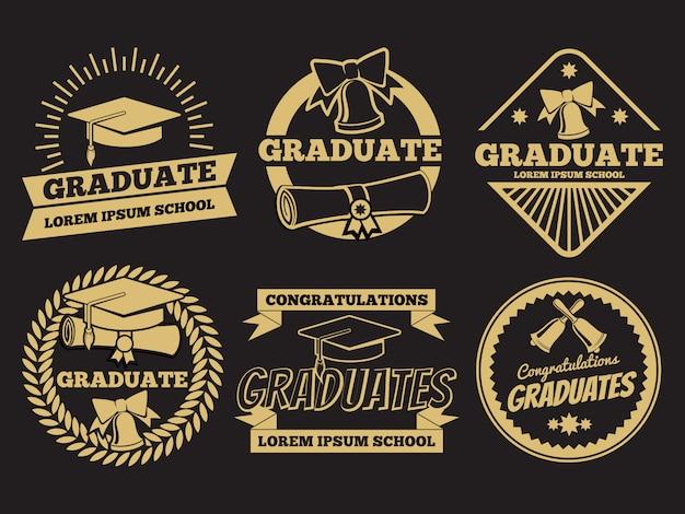 Vintage étudiant diplômé vecteur insignes. jeu d'étiquettes de graduation