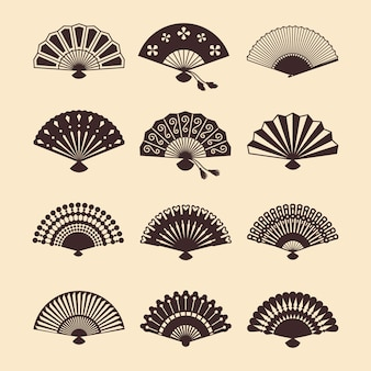 Vintage fans orientaux élégants de silhouettes définies