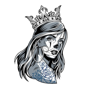 Vintage fille chicano portant une couronne