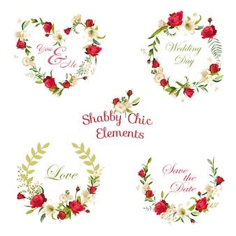 Vintage floral roses et lily tags, étiquettes et bannières. pour t-shirt, mode, impressions, conceptions graphiques