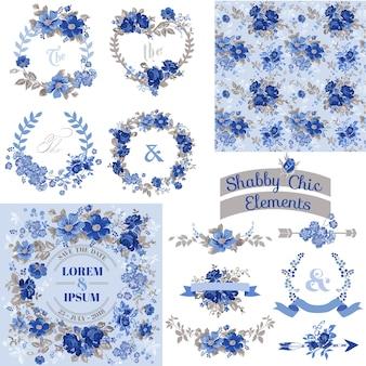 Vintage floral set cadres, rubans, arrière-plans