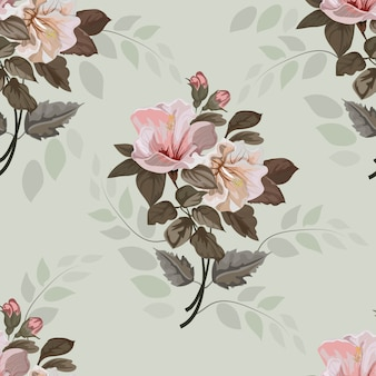 Vintage flowerf avec illustration de modèle sans couture d'hibiscus