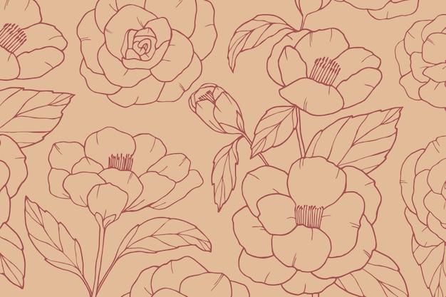 Vintage fond dessiné à la main avec des fleurs de camélia