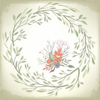 Vintage fond romantique avec cadre floral et embellissements. conception de vecteur de mariage