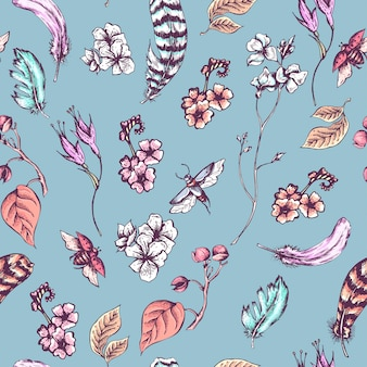 Vintage fond sans couture avec des fleurs, des coléoptères et des plumes