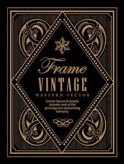 Vintage frame label western retro frontière gravure antique