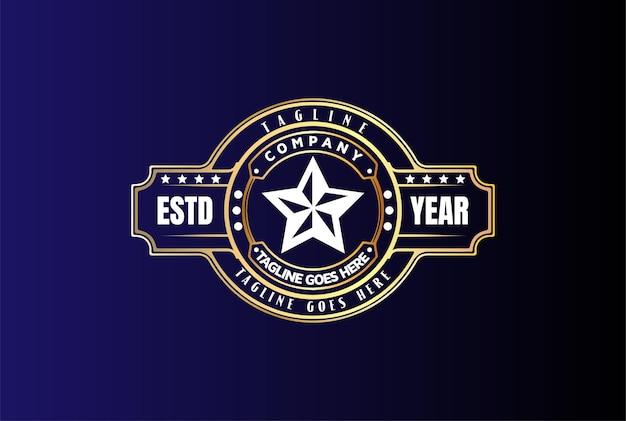 Vintage golden star pour fight champion belt logo design vector