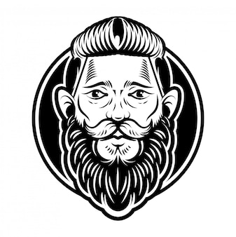 Vintage graphique personnalisé gravure hipster visage homme barbier viking avec grande moustache de barbe noire et coiffure élégante. illustration de style moderne. étiquette d'enseigne rétro.