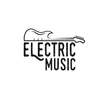 Vintage, hipster, rétro, logo de guitare d'art en ligne, vecteur de conception de logo de musique