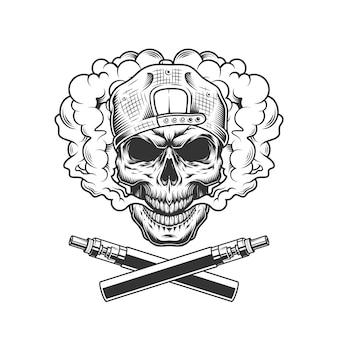 Vintage hipster skull wearing cap