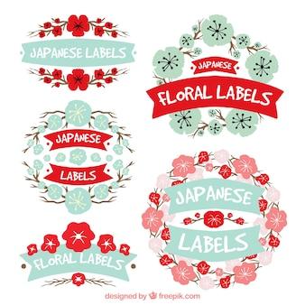 Vintage labels japonais floraux