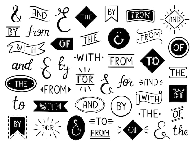 Vintage lettrage esperluette et mots clés