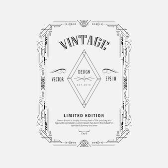 Vintage ligne mince ligne géométrique forme géométrique art déco coin de cadre design rétro