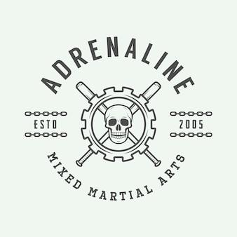Vintage logo d'arts martiaux mixtes