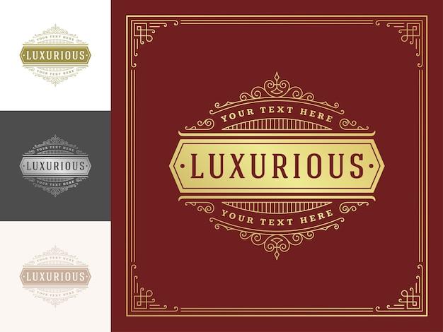 Vintage logo élégant s'épanouit ligne art ornements gracieux modèle de style victorien.