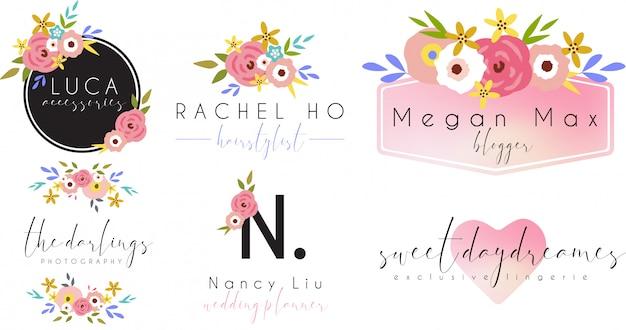 Vintage logo féminin avec des éléments floraux