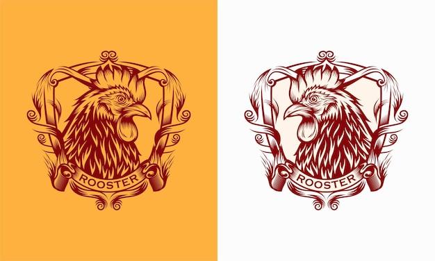 Vintage de logo de poulet coq