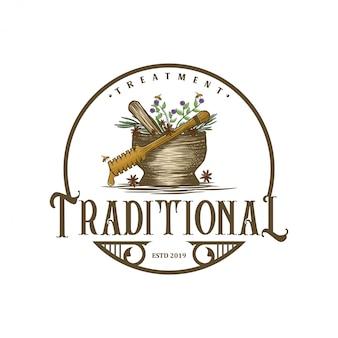 Vintage logo pour les médecines traditionnelles