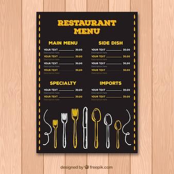 Vintage menu menu modèle avec couverts