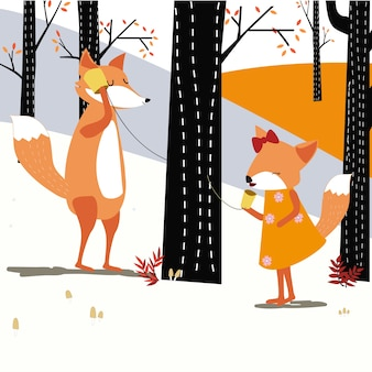 Vintage mignonne printemps été fox loup téléphone parler dans la forêt de printemps