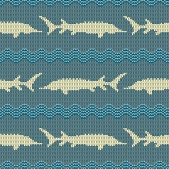 Vintage modèle sans couture en laine tricotée avec des esturgeons