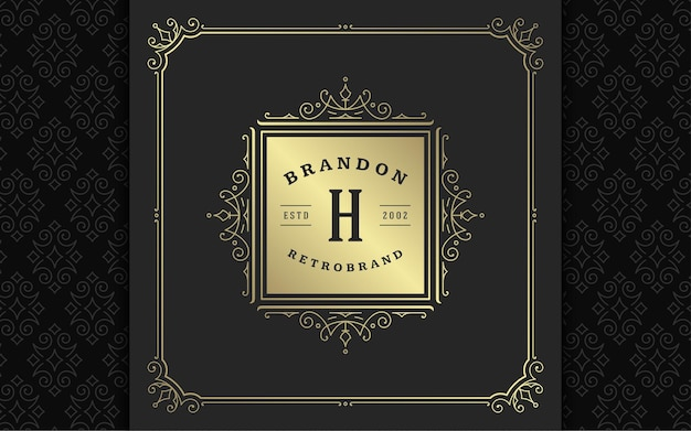 Vintage monogramme logo élégant s'épanouit dessin au trait ornements gracieux conception de modèle de style victorien