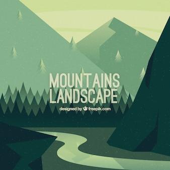 Vintage montagneux fond de paysage avec rivière