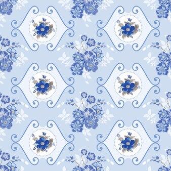 Vintage motif de fleurs bleues