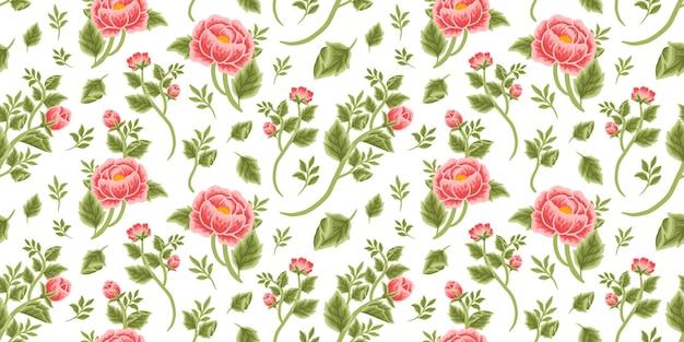 Vintage motif floral harmonieux de bouquet de pivoine rouge, de boutons floraux et d'arrangements de branches de feuilles