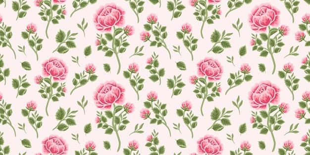 Vintage motif floral harmonieux de bouquet de roses roses, de boutons floraux et d'arrangements de branches de feuilles