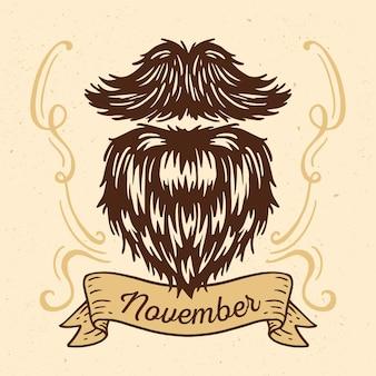 Vintage movember fond avec barbe poilue
