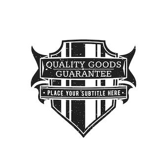 Vintage noir monochrome étiquette grunge texture décoration rétro bouclier rubans bannière sur fond blanc