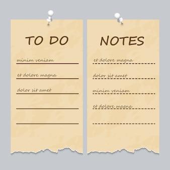 Vintage pages déchirées pour faire la liste et les notes