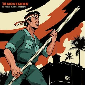Vintage pahlawan / jour des héros