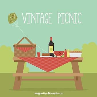 Vintage pique-nique fond