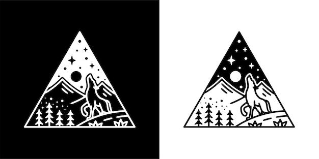 Vintage en plein air design monoline avec loup et montagne