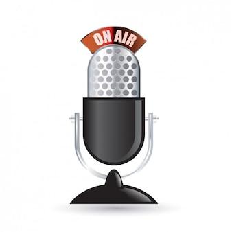 Vintage radio microphone icône