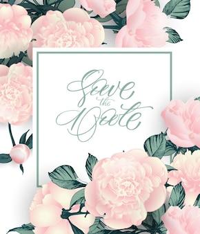 Vintage réservez la date avec des pivoines. conception d'invitation de mariage. illustration dessinée à la main. modèle vectoriel