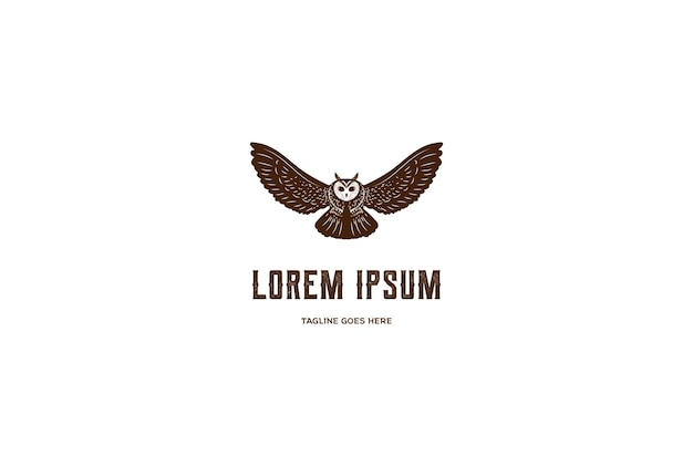 Vintage retro flying owl bird logo design vector