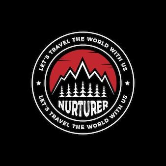 Vintage rétro pins de montagne arbres de cèdre emblème insigne étiquette modèle de conception de logo hipster aventure en plein air